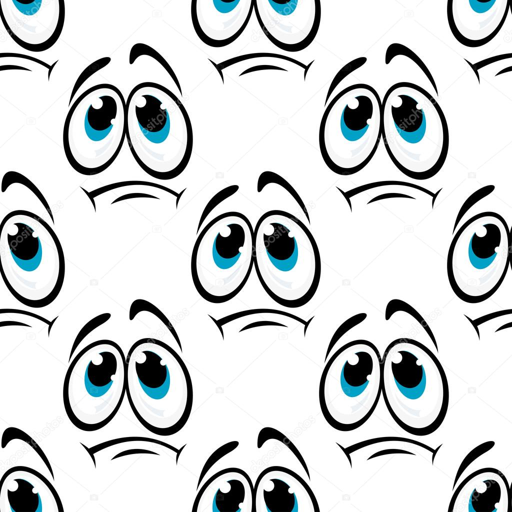 Comics Faces With Sad Eyes Seamless Pattern