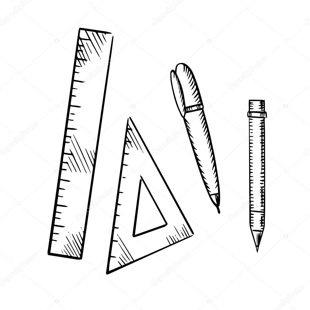 Pencil Pen Triangle And Ruler Sketch Icons