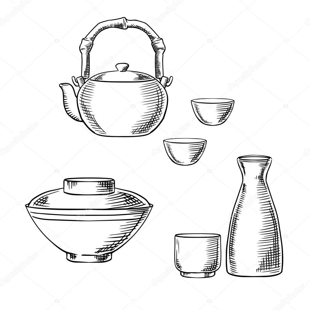 Japanese Ceramic Tableware Sketch Icons