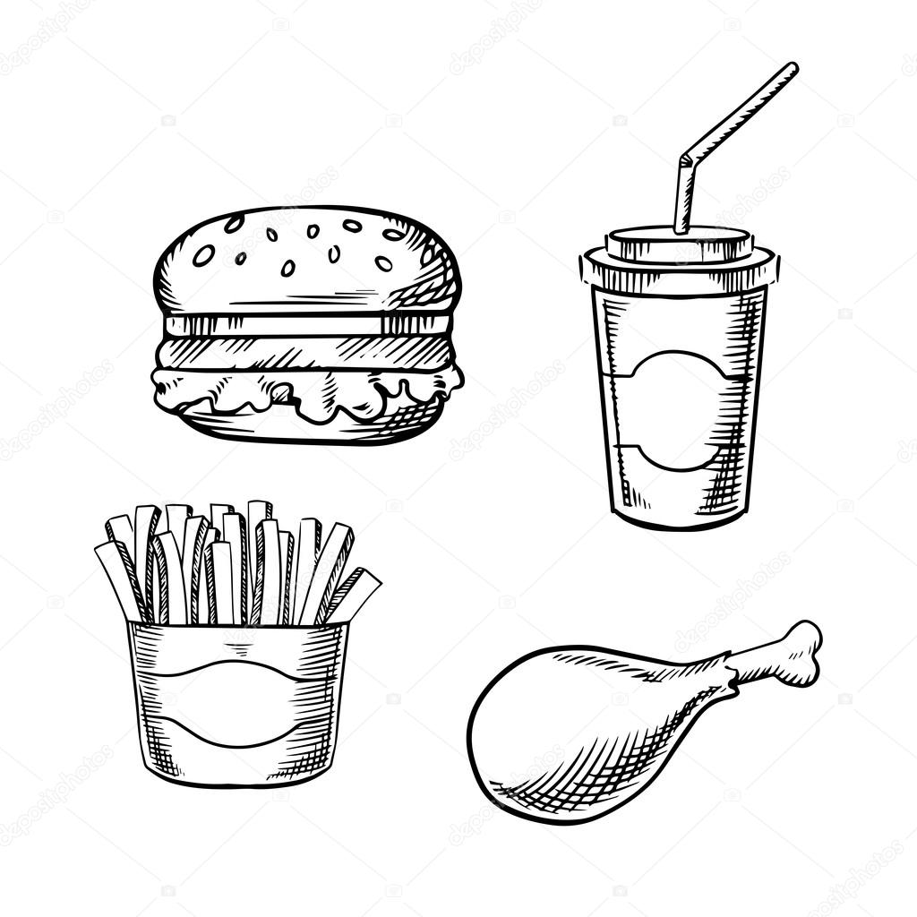 Burger French Fries Chicken Leg And Soda Cup