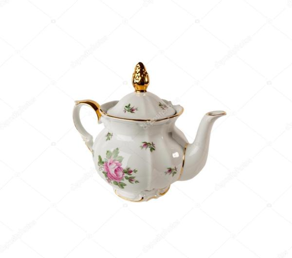 Фарфоровый чайник с орнаментом из роз и золота в ...