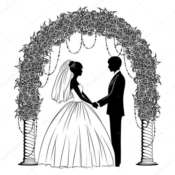 Картинки: жених и невеста. Силуэты жених и невеста ...