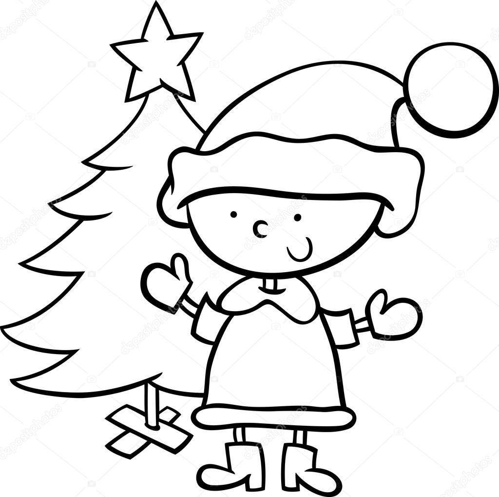 Santa Claus Boy Cartoon Coloring Page