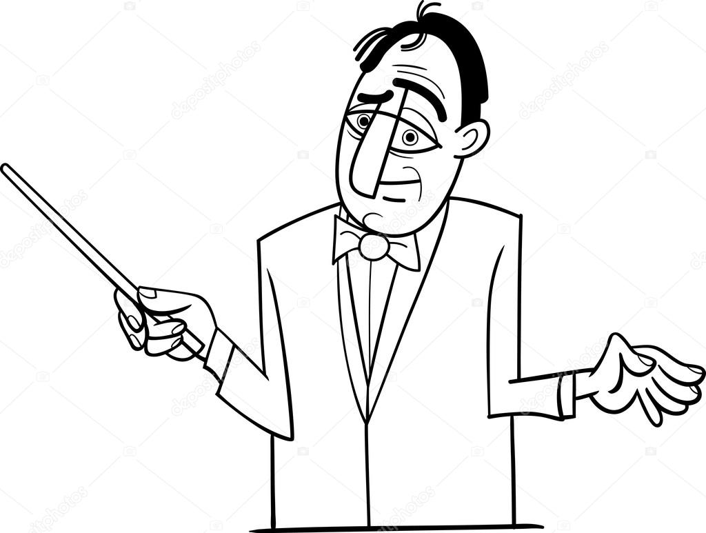 Orkest Dirigent Cartoon