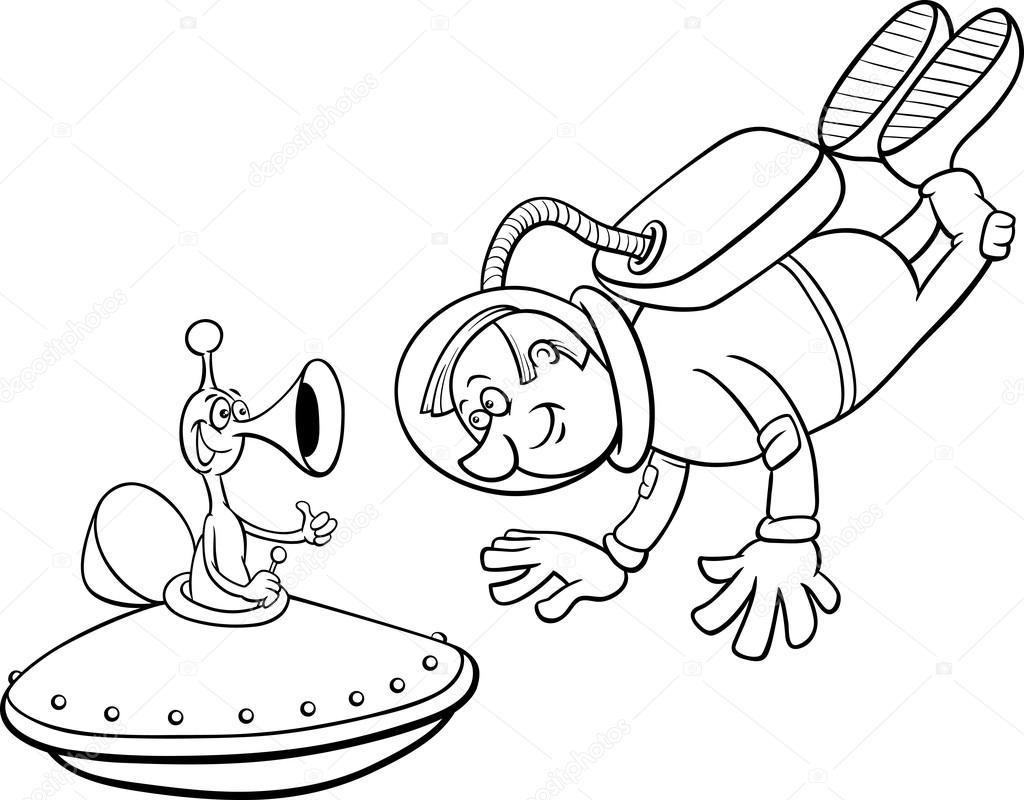 Spaceman With Alien Coloring Page