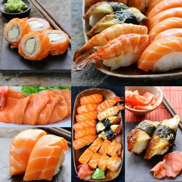 Картинки суши и роллы. Набор различных видов японских суши ...