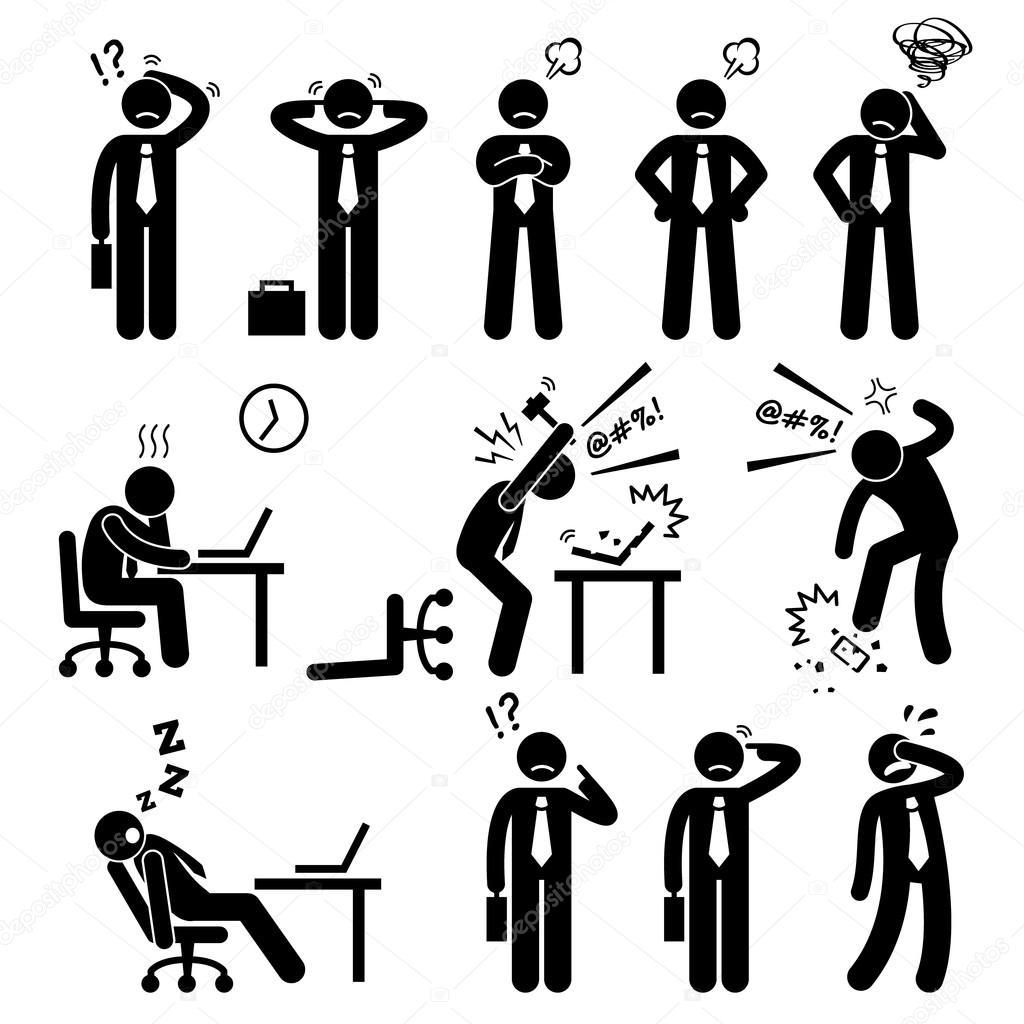 Businessman Business Man Stress Pressure Workplace Stick Figure Pictogram Icon
