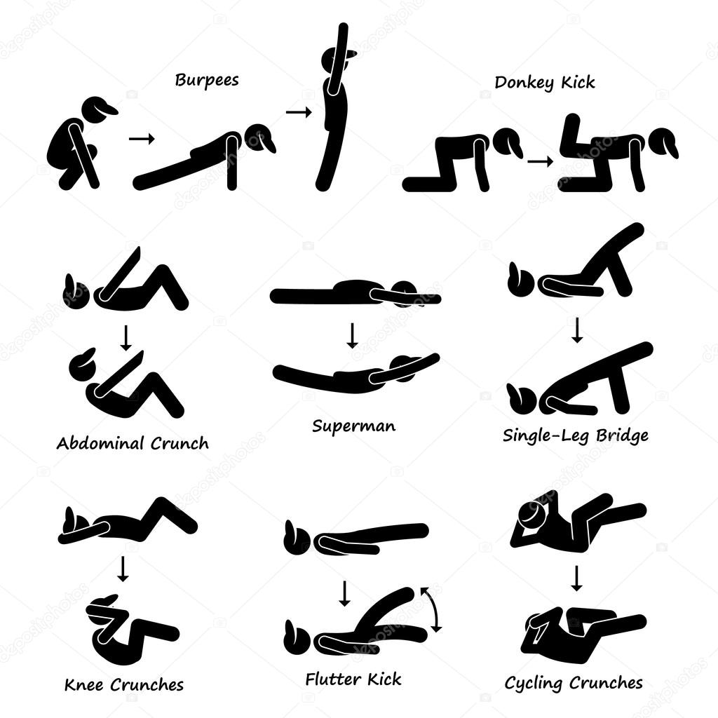 Body Workout Ubung Fitness Training Set 3 Strichmannchen Piktogramm Icons