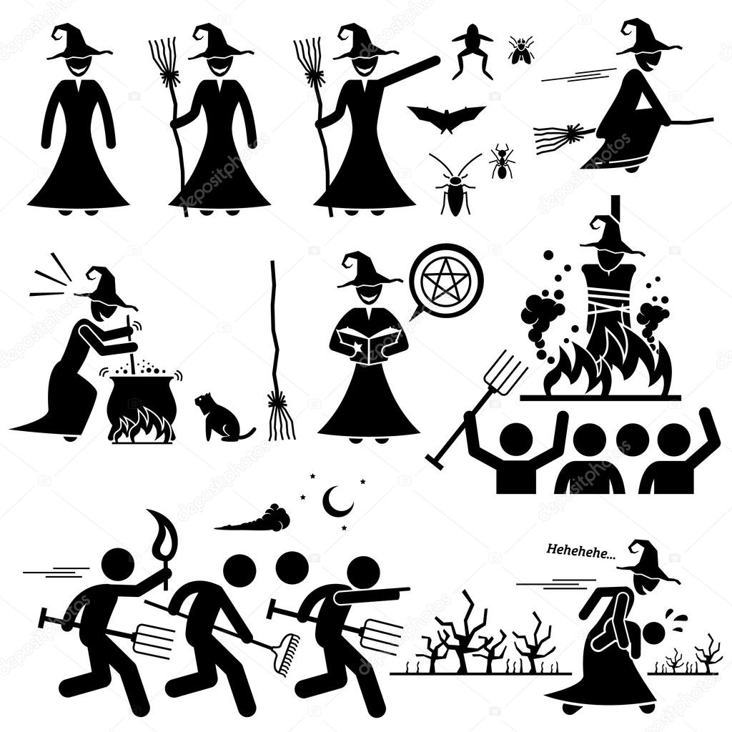 Evil Witch Hunt Witchcraft Black Magic Stick Figure