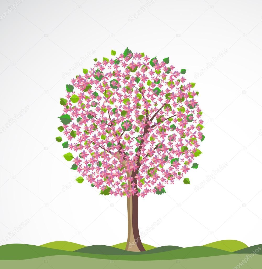 arbre fleuri images vectorielles arbre fleuri vecteurs libres de droits depositphotos