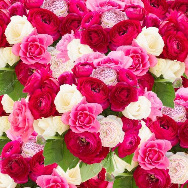 Фото: цветы. Букет из розовых Лютик — Стоковое фото ...