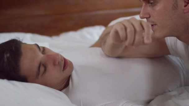 Gay Male Couple Relaxing In Bed Stock Video