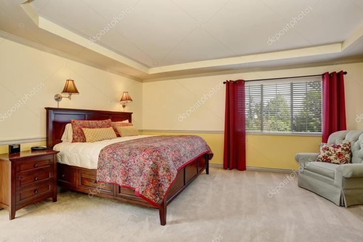 Living Room Curtain Ideas Brown Furniture Bedroom Interior With Deep Brown Furniture And Red Curtains Stock Photo C Iriana88w 120208986