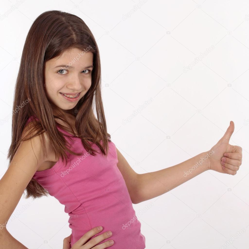 Beautiful young teen girl with brackets on teeth in white ... on Beautiful Teen Girl  id=73901