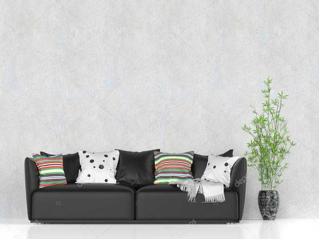 black leather sofa with colorful pillows stock photo c trimitrius 83381786