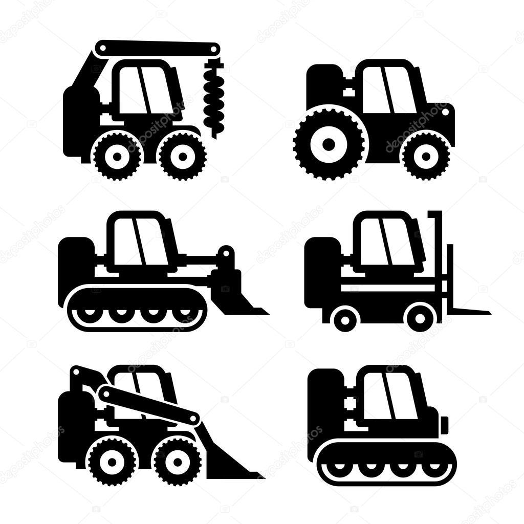 Conjunto De Icones De Maquina Bobcat Vector