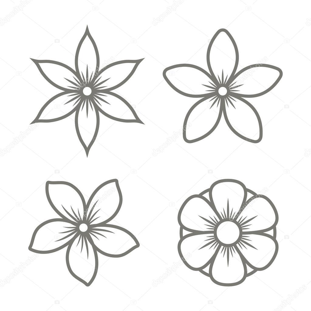Jasmine Flower Icons Set On White Background Vector