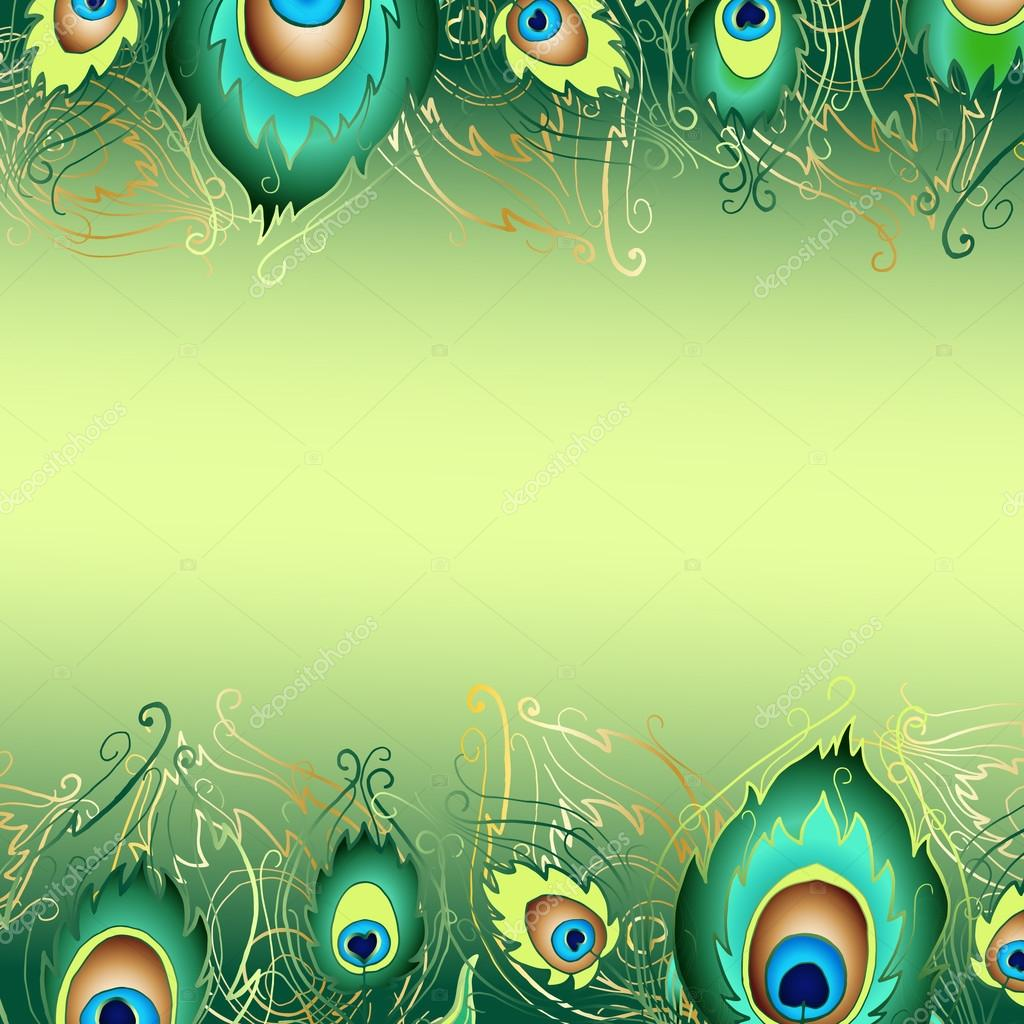 invitation card with peacock feathers stock photo image by c smirno 119186302