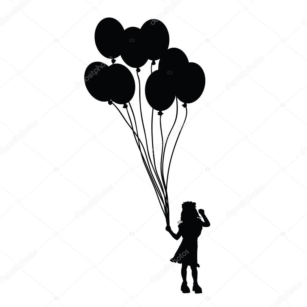 Kind Met Ballon Silhouet Illustratie