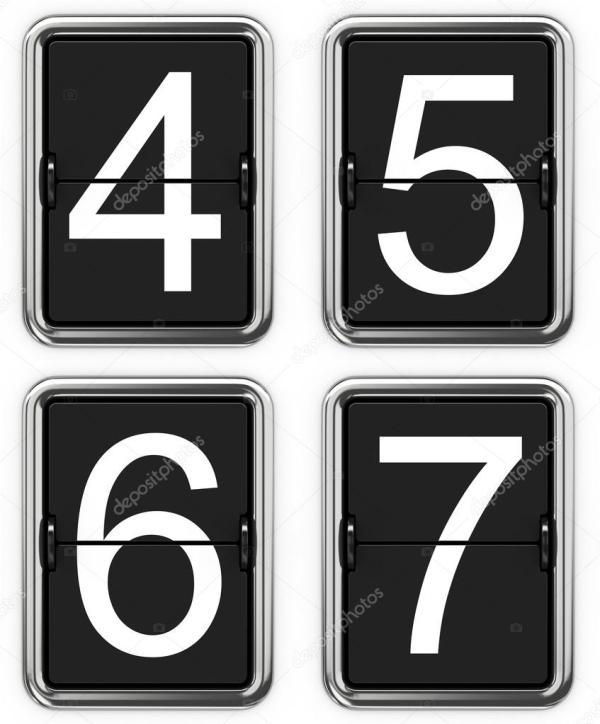 Картинка цифры 4. Цифры 4, 5, 6, 7 на механическом табло ...