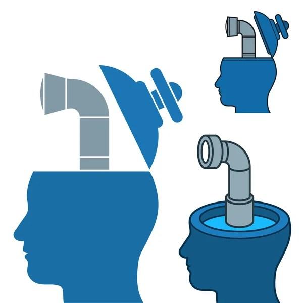Бурение на нефть в человеческий мозг — Векторное ...