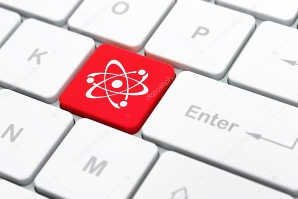 Наука концепция: Молекула на клавиатуре компьютера фоне ...