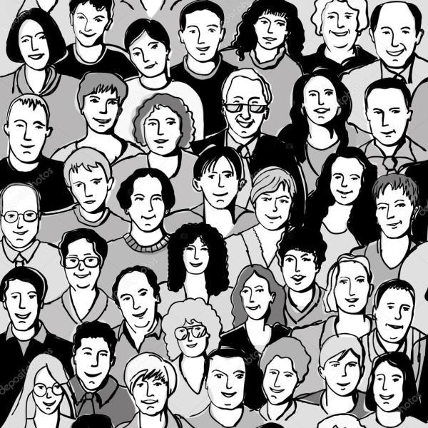 Люди образца сталкиваются в толпе Векторное изображение