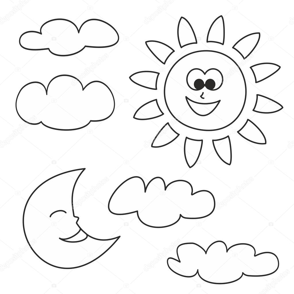 Weather Cartoon Icons Vector Illustrations Isolated On