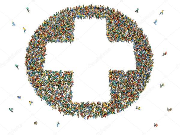 Большая группа людей в форме знака плюс — Стоковое фото ...