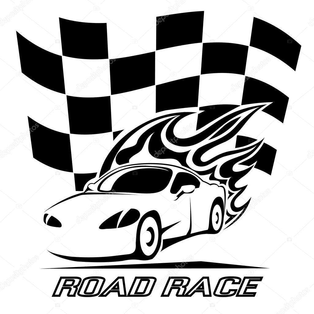 Road Race Poster Design In Black And White