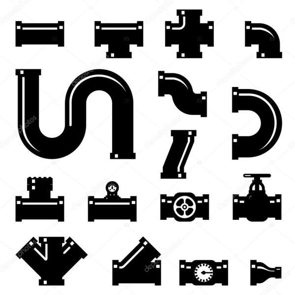 комплект труб фитинги векторные иконки — Векторное ...