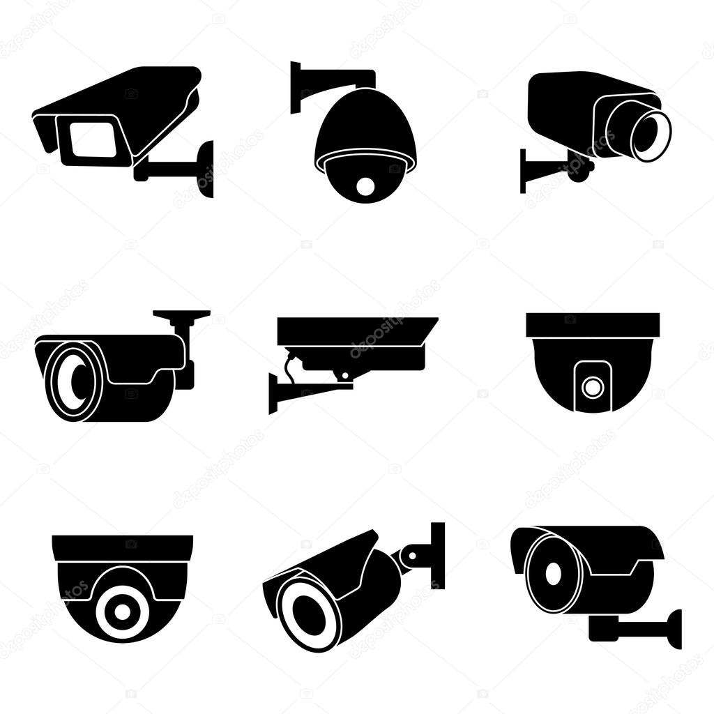 Security Surveillance Camera Cctv Vector Icons Set