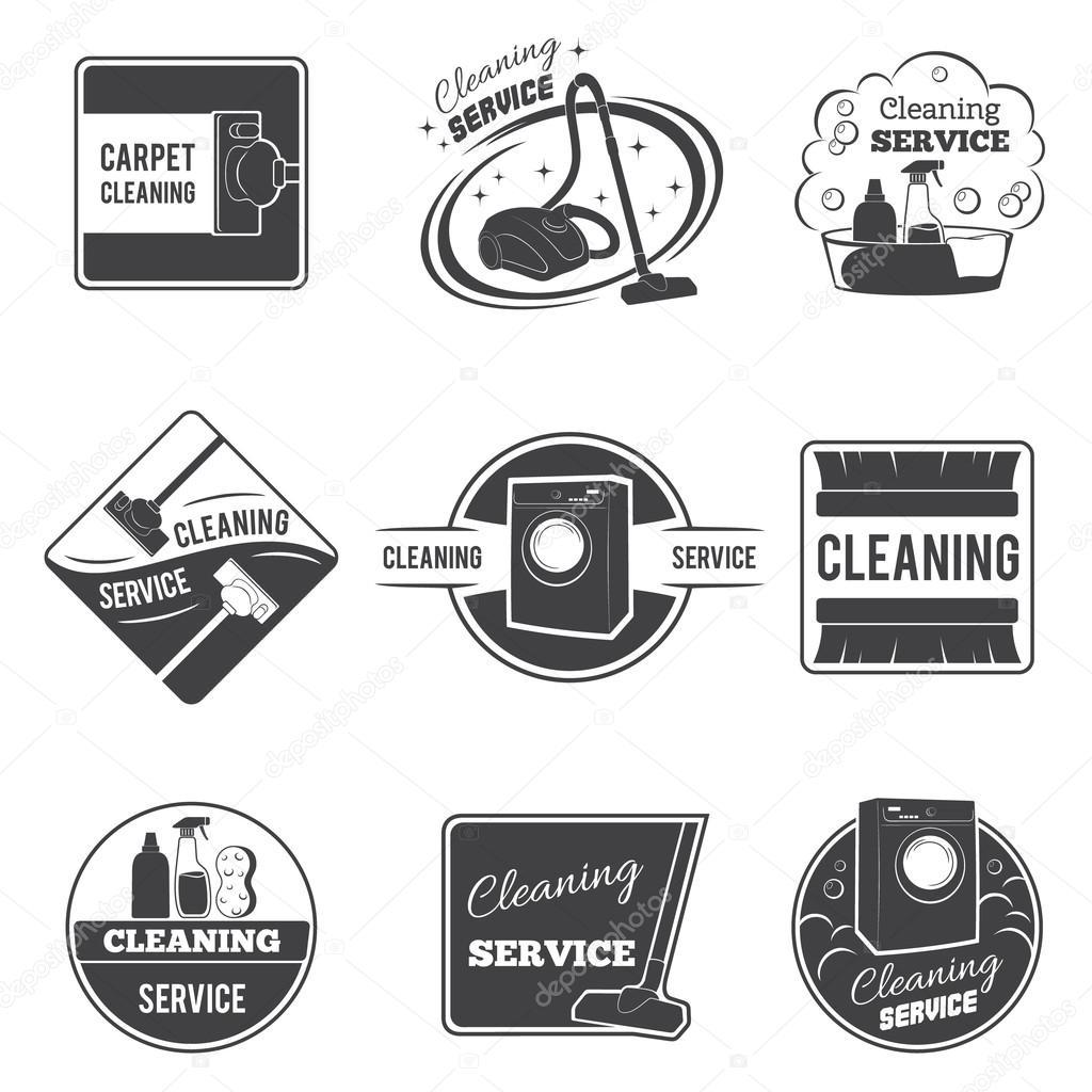 Vintage Cleaning Service Vector Logos Emblems Labels Set