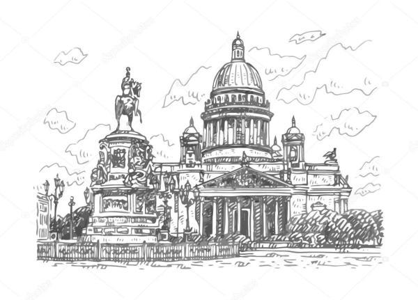 Исаакиевский собор vektor. Исаакиевский собор и памятник ...