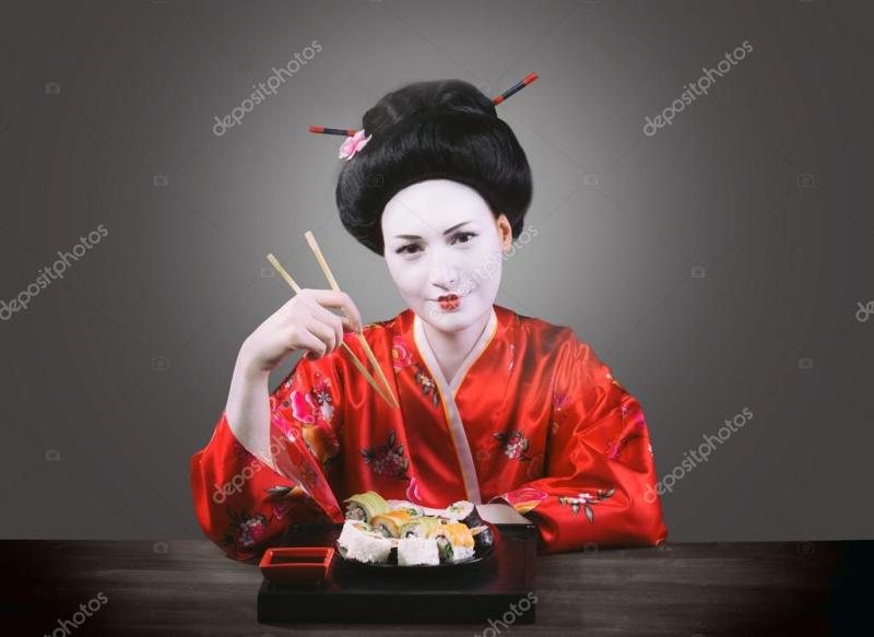 Woman In Geisha Makeup Eating Sushi Stock Photo Rod Julian d27b1bc0247a0