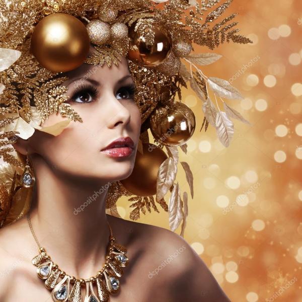 Рождества моды девушка с оформленными прическа. Портрет ...
