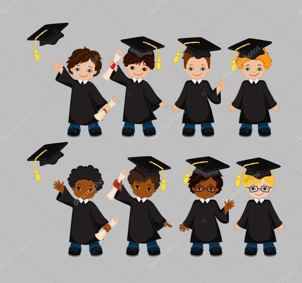 Boys Set Of Children In A Graduation Gown And Mortarboard