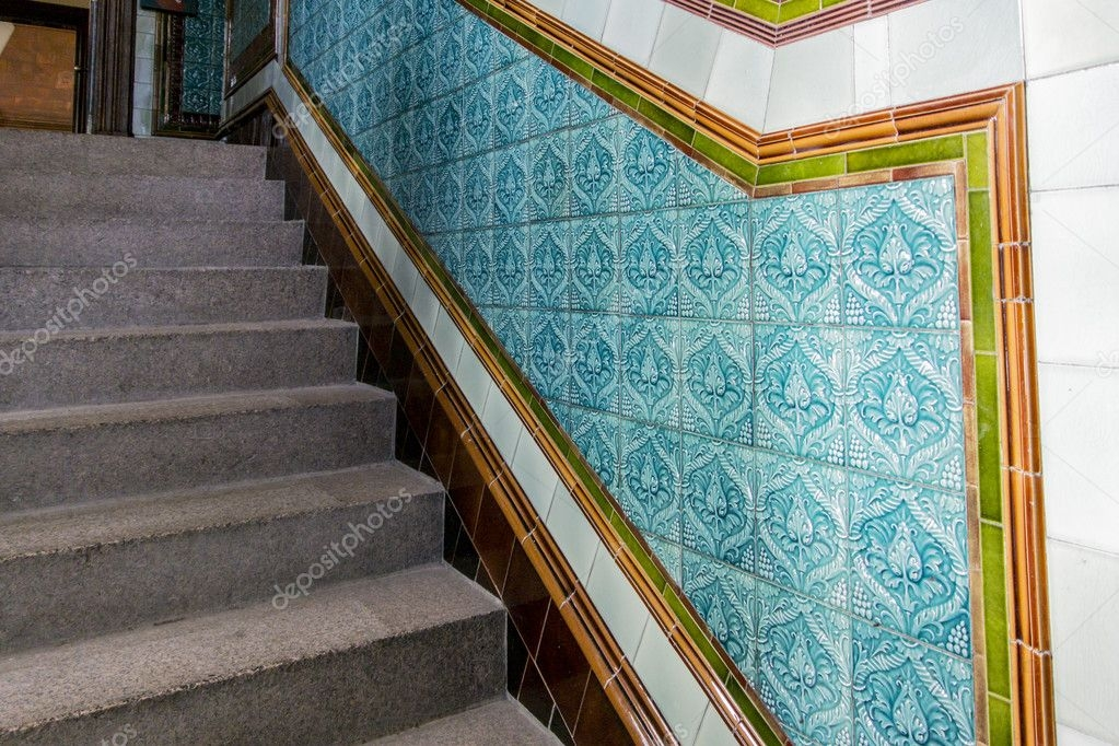 Granite Staircase With Patterned Ceramic Tiles — Stock Photo | Stairs Floor Tiles Design | Step | Shop | Stair Riser | Wood | Stair Flooring