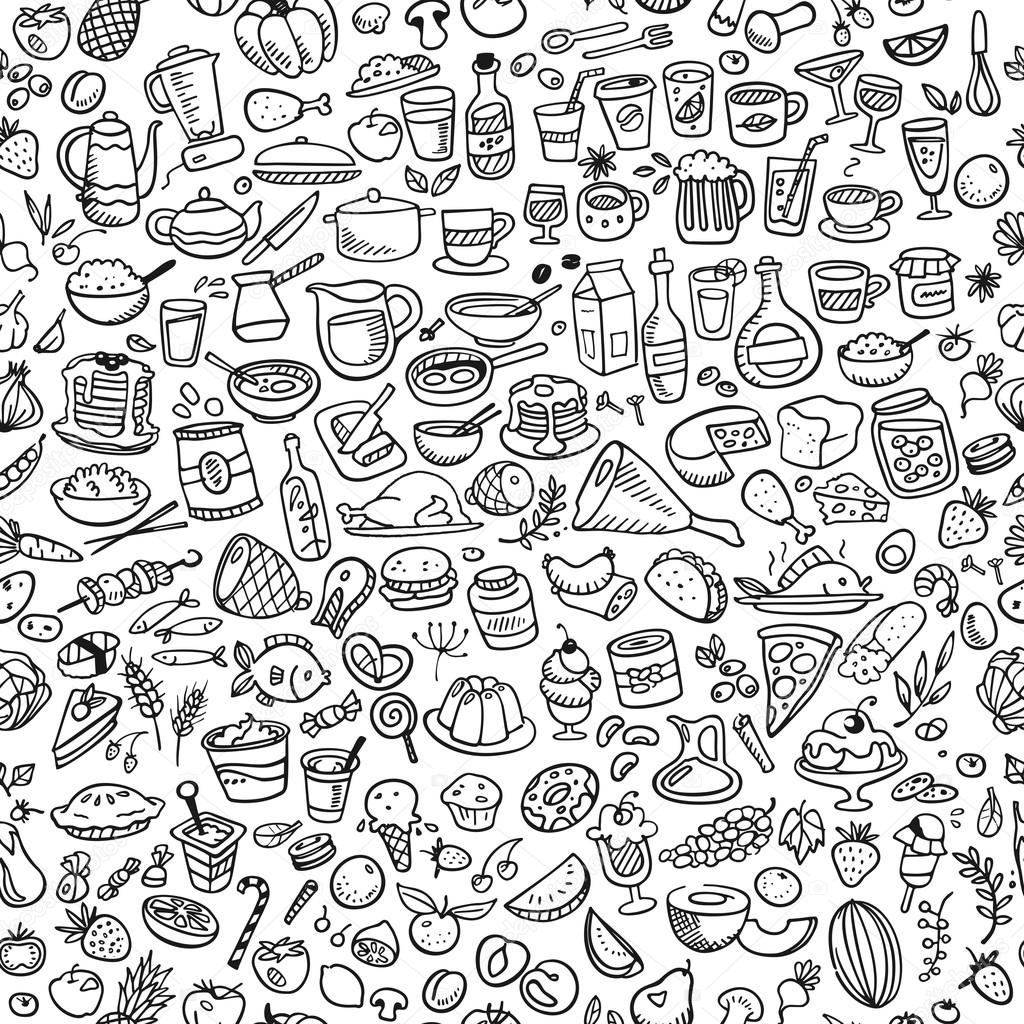 Doodle Food Icons Seamless Background Stock Vector Red
