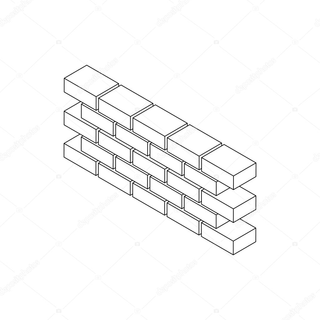 Part Of Brick Wall Icon Isometric 3d Style