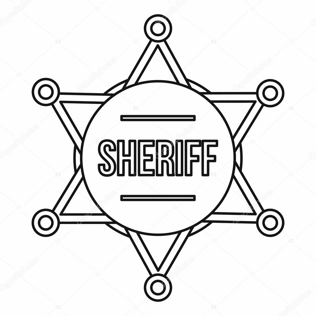 Sheriff Badge Icon Outline Style