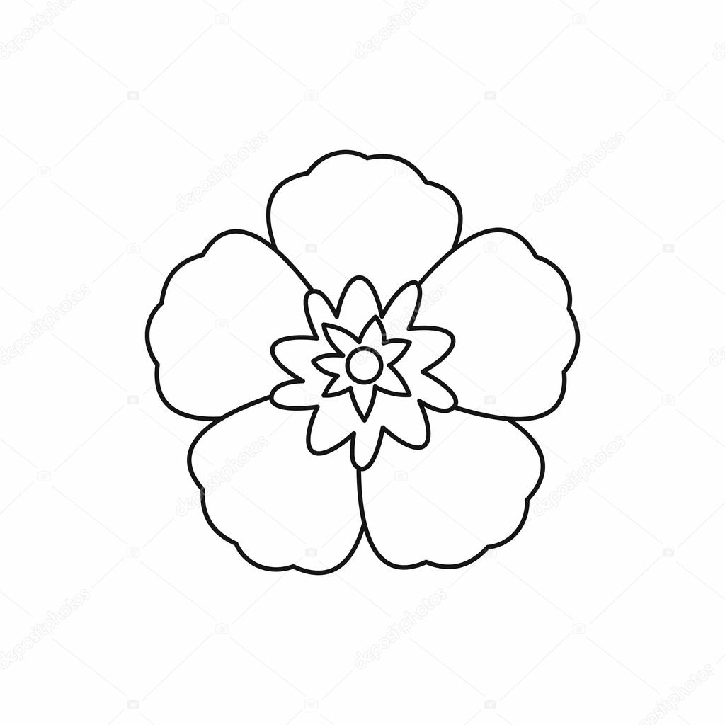 Rose Of Sharon Korean Flower Icon Outline Style