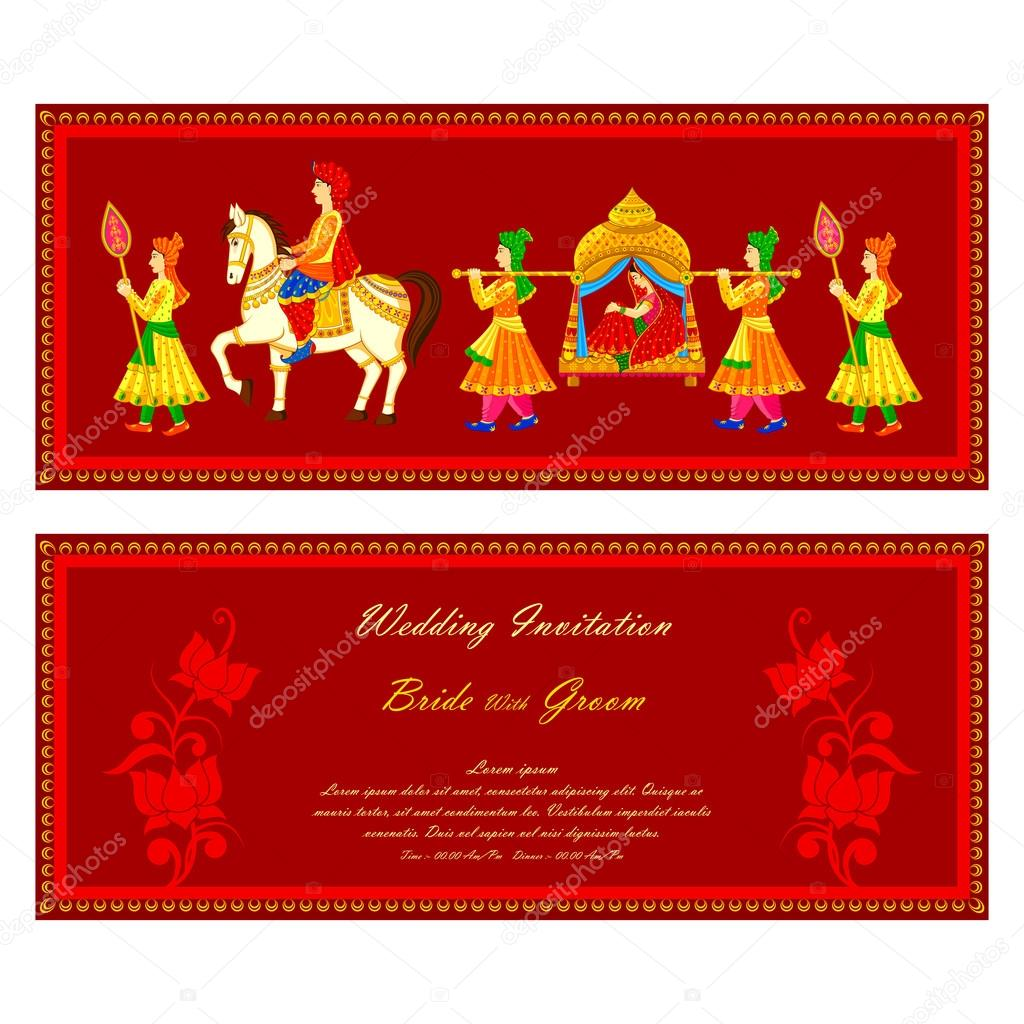 indian wedding invitation card vector image by c stockshoppe vector stock 61545463