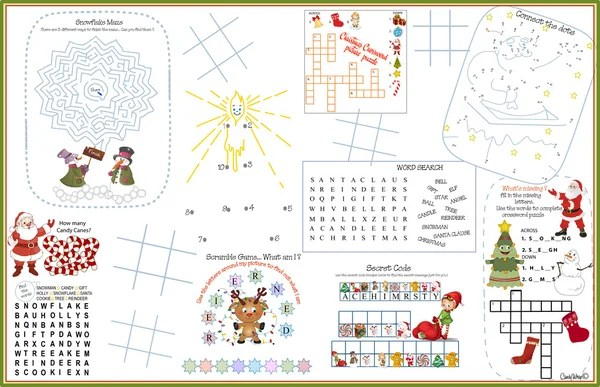 Placemat Christmas Printable Activity Sheet 1 Stock