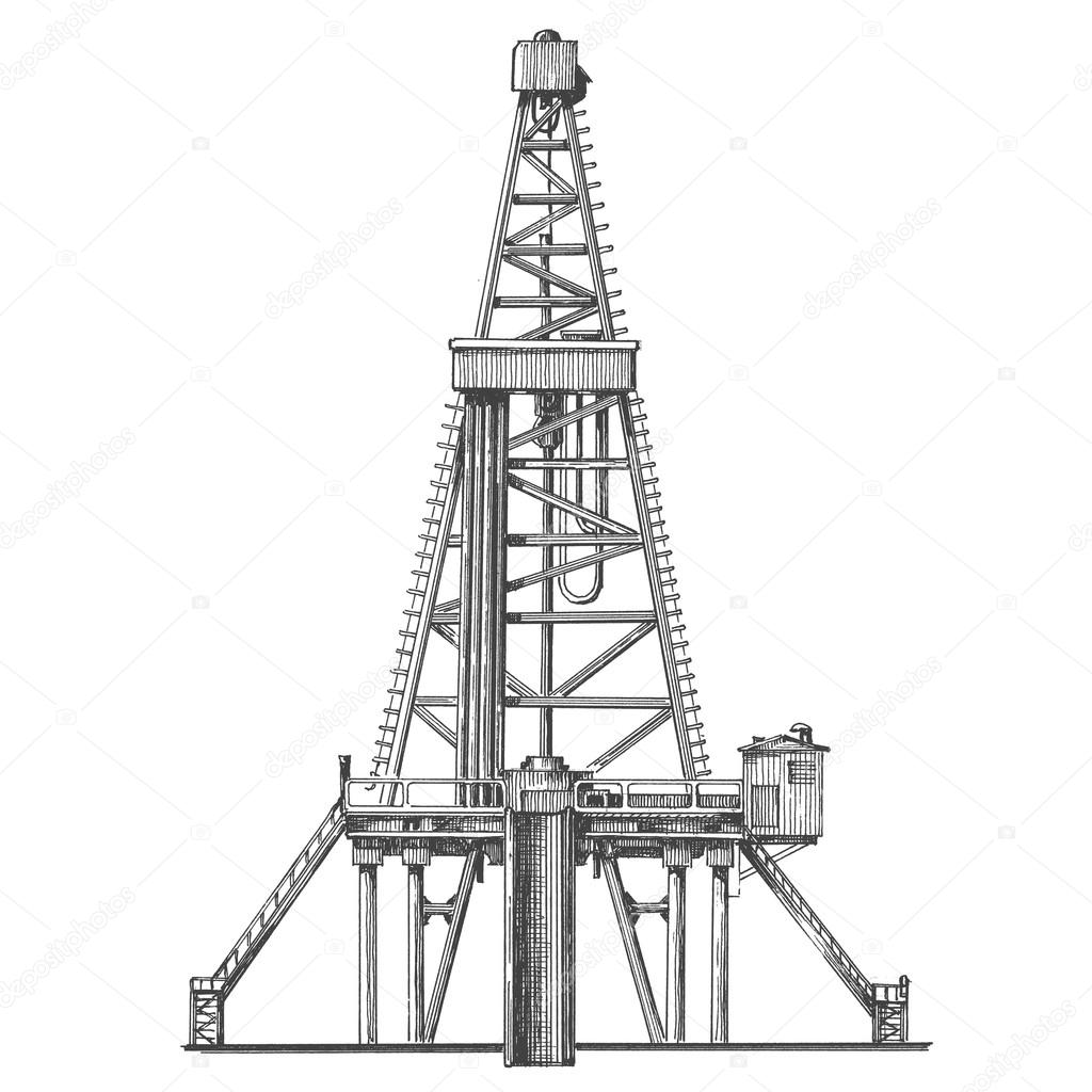 Oil Rig Vector Logo Design Template Petroleum Or Industry