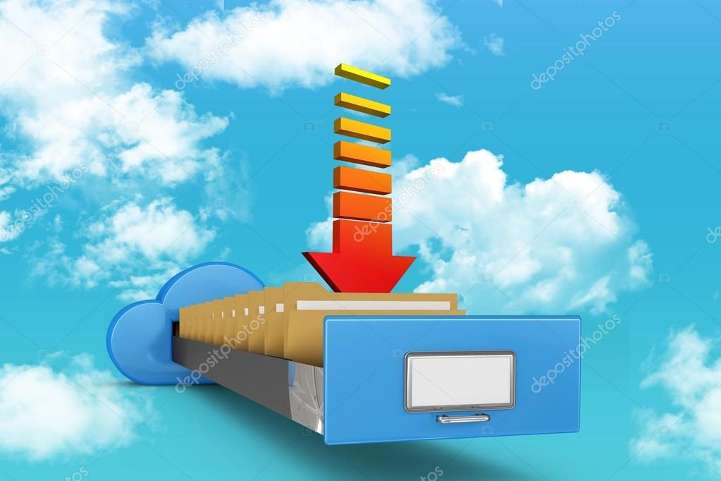 composite numerique de nuage classeur avec fleche image de wavebreakmedia