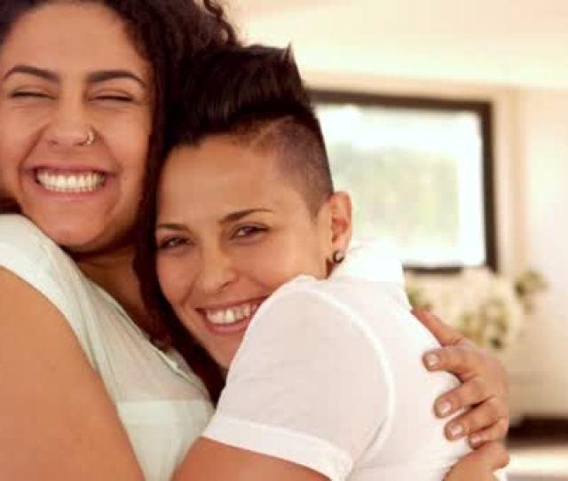 Happy Lesbian Couple Hugging Stock Video