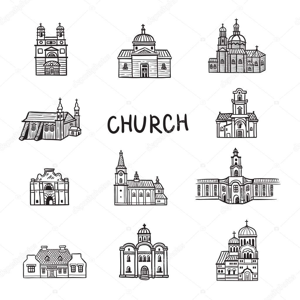 Set Of House Icons Doodles Church Line Illustration