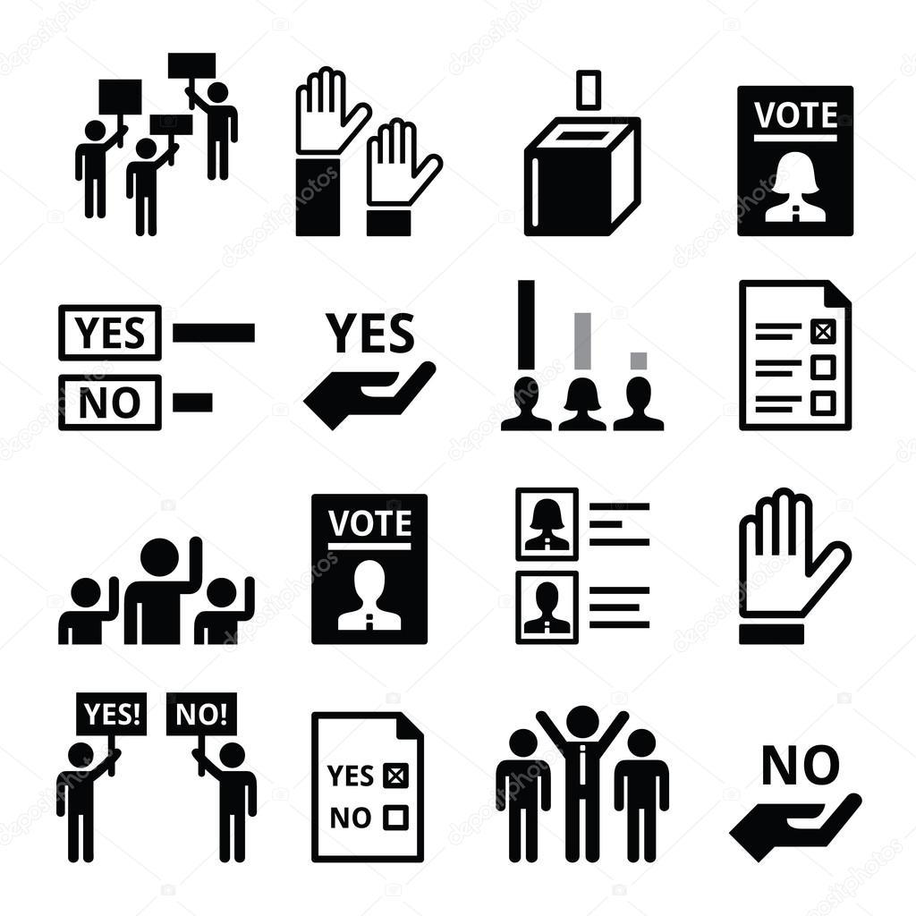 Democratie Stemmen Politiek Vector Icon Set