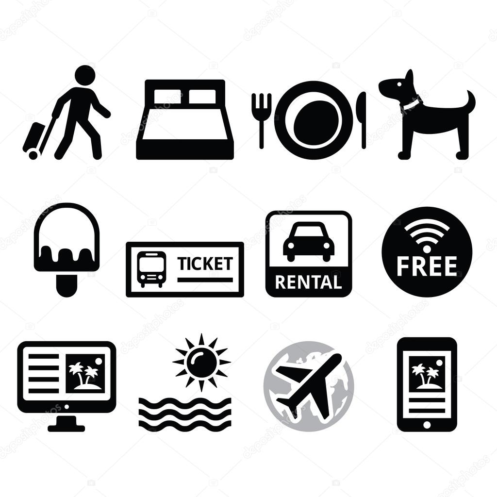 Travel And Tourism Booking Holidays Icons Set